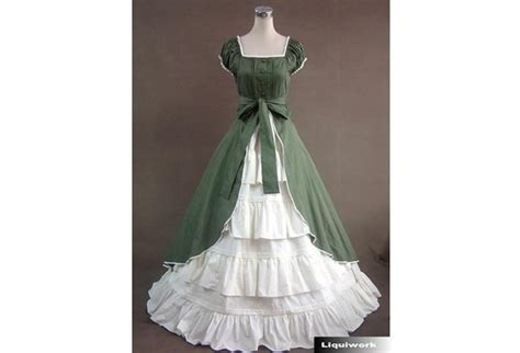 Fancy Green White Southern Belle Prom Ball Gown Dress