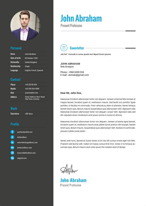 Free Professional Resume Template & Cover Design In INDD