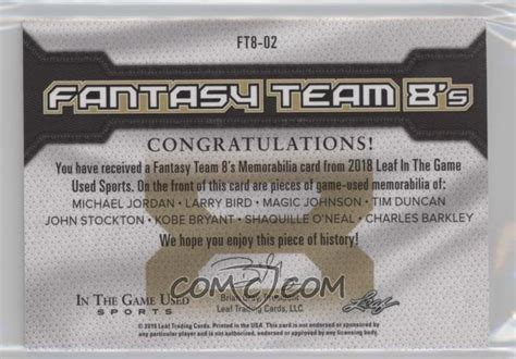 2018 Leaf In The Game Used Sports - Fantasy Team 8's