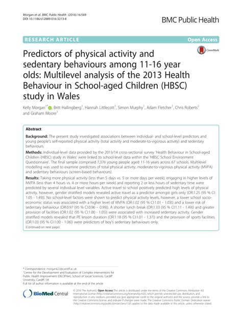 (PDF) Predictors of physical activity and sedentary